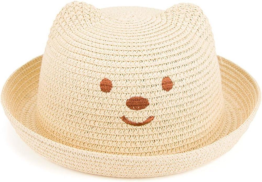 Westeng Enfants B/éb/é Chapeau de Paille Mignon Bear Pattern Chapeau de Soleil /ét/é Casquettes Plage Loisir Voyage