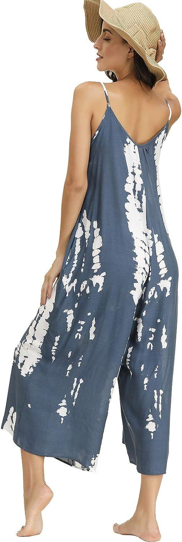 BUENOS NINOS Women's V Neck Floral Maxi Dress Boho Printed Adjustable Spaghetti Strap Ethnic Beach Long Dress with Pockets