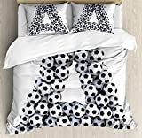 Letter A Queen Size Duvet Cover Set by Ambesonne, Realistic Soccer Balls in form of Capital A Sports Play League Competition Theme, Decorative 3 Piece Bedding Set with 2 Pillow Shams, Black White