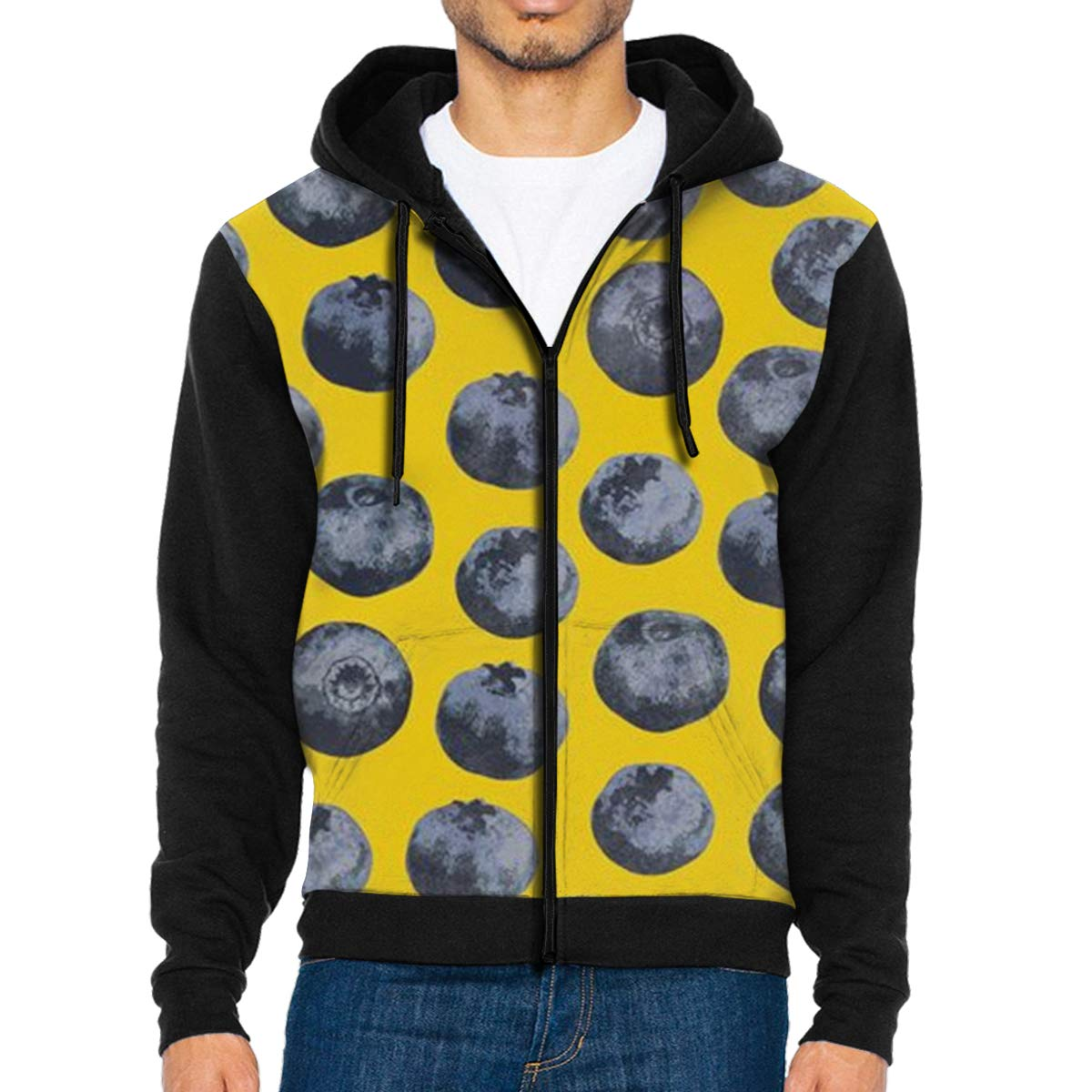 Blueberry Yellow Background Lightweight Mans Jacket with Hood Long Sleeved Zippered Outwear