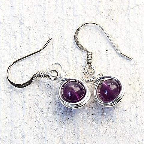 Amethyst Beads Dangle Earrings Semi Precious February Birth Stone Jewelry (Amethyst Stone Jewelry)