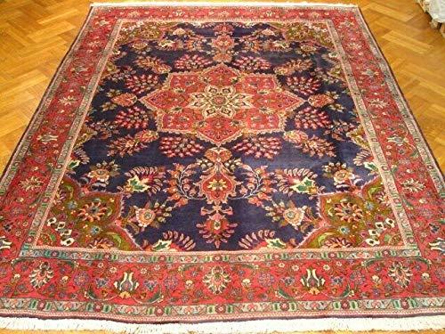 Persian Area Rug 10' x 13' Navy Blue Sarouk Old Design Large Centerpiece Rug - Sarouk Navy Area Rugs