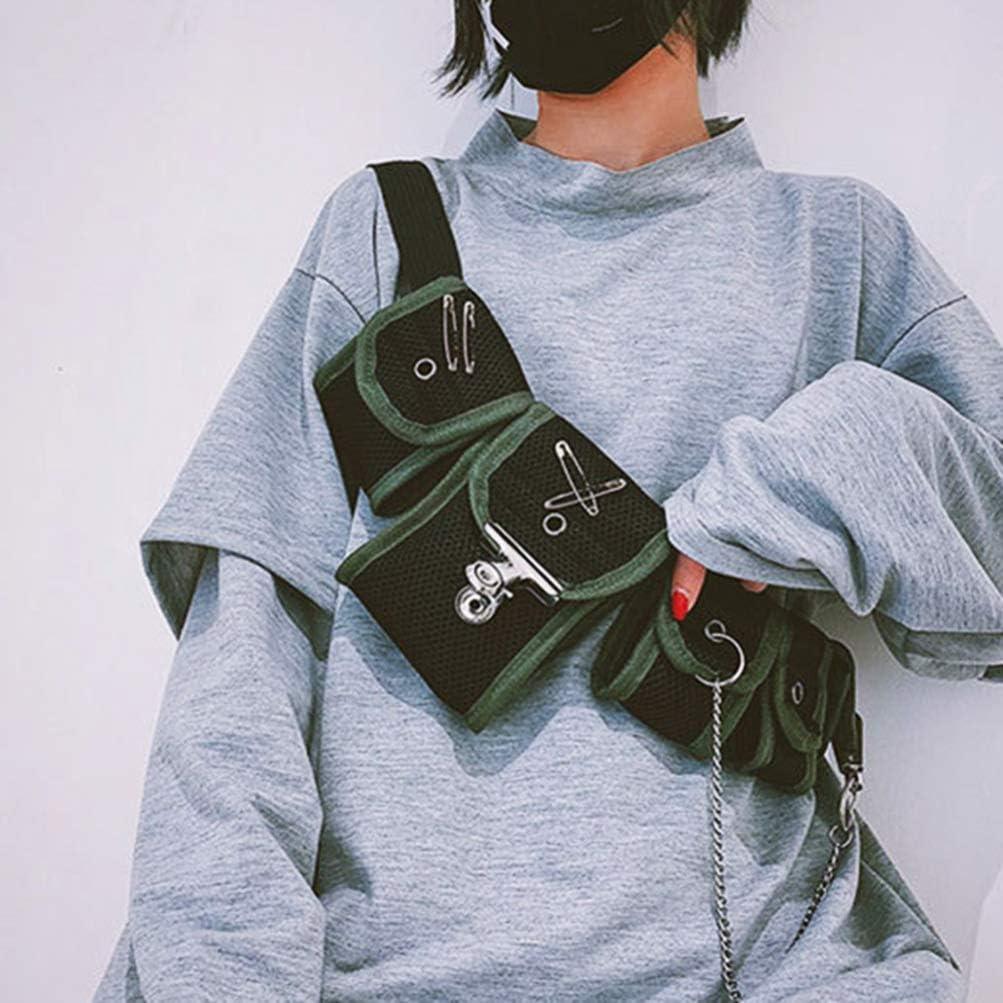 FENICAL Multi Pocket Chest Bag Canvas Fanny Bag Bumbag Shoulder Crossbody Bag
