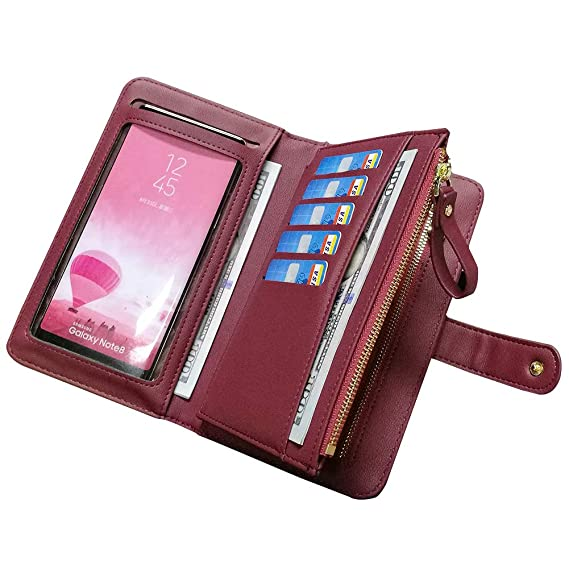 902444650d53 Leather Wallets for Women Aeeque Women's Wallet Purse Touch Screen Phone  Bag Large Capacity Zipper Wallet Wine Red Wrist Strap Ladies Clutch Handbag  ...