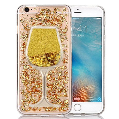 iPhone 6/6s Case, [Bling Glitter Wine Glass] Faceplate Gold Leaf Design Flexible Soft TPU Protective Case for iPhone 6/6s 4.7