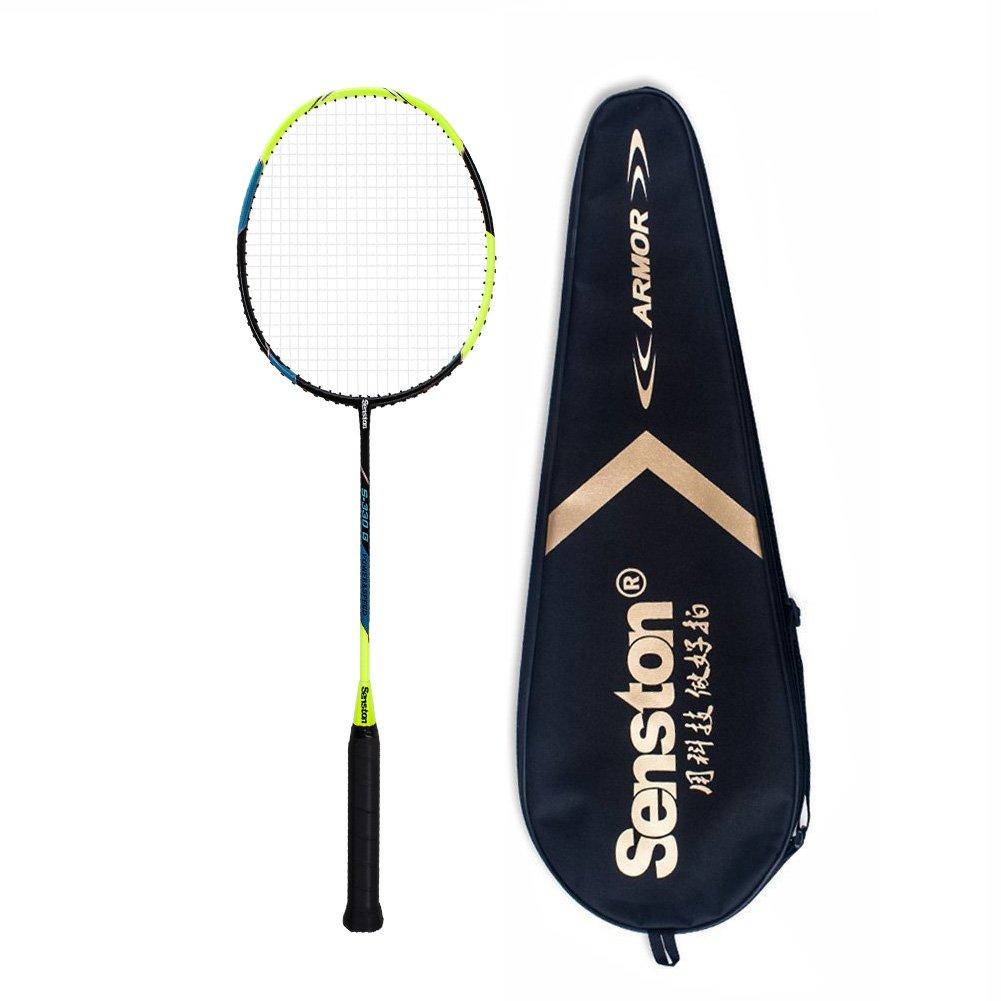 Senston S-330 Single Carbon Fiber Badminton Racquet High String Badminton Racket Yellow with Racket Cover