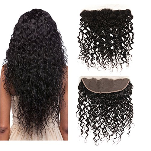 Friskylov Hair Lace Frontal Water Wave Human Hair 13x4 Ear To Ear Front Closure Free Part Natural Color (water wave 10Inch) ()