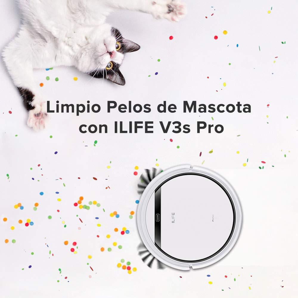 Auto-carga Dise/ño para la limpieza de Pelos de Mascota ILIFE V3s Pro Robot Aspirador de limpieza de hogar Robot