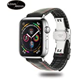 Xboun コンパチブル apple watch バンド,本革 ビジネス用 アップルウォッチバンド プッシュ式 Dバックル 手作り ゴム Apple Watch Series 4/3/2/1/Nike+ (42mm/44mm,ブラック)