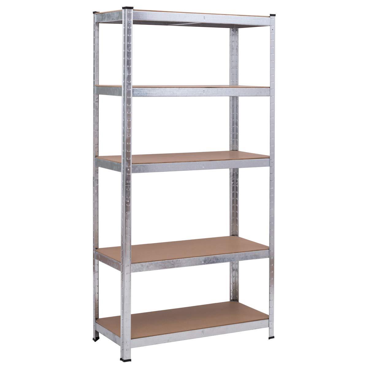 "Giantex Shelving Rack 5-Shelf Storage Shelf Steel Garage Utility Rack Adjustable Shelves Heavy Duty Multipurpose Display Stand for Books, Clothes, Kitchenware, Tools Bolt-Free Assembly 36''x 16''x 72"""