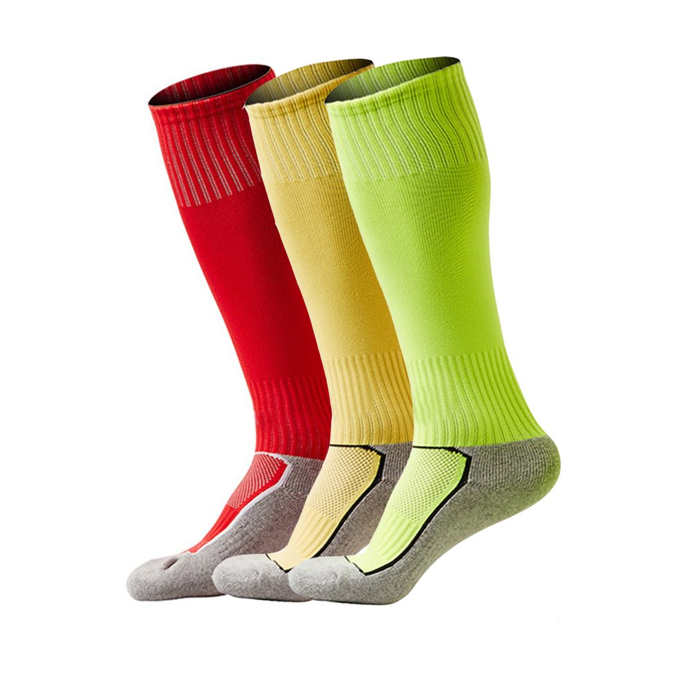 8-13 Year Old Boys Soccer Socks Over The Calf Primary School Team Training Socks 3 Pack by YUMILY