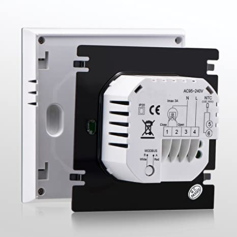 BECA Home Thermostat, Control LCD Touch Screen 3A Water Floor Heating Programmable MODBUS RTU Room Thermostat (3A for Water Heating(MODBUS RTU), ...