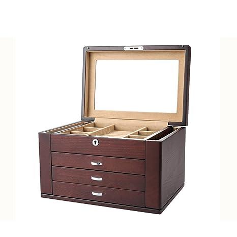 TG 4Layer Joyero, Joyería Collar Pendientes Pulsera Anillo Caja De Almacenamiento Organizador Caja Madera Vintage