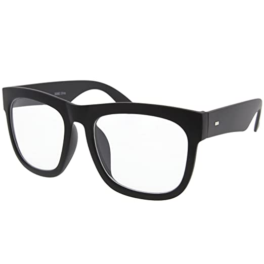 cd69d196f20 Amazon.com  Black Large Square Clear Lens Glasses Thick Horn Rim  Clothing