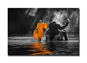 DJSYLIFE-Black and White Zen Art Canvas Painting Wall Art Thai Elephant Monk Water Shore Shooting Painting Art,Modern Canvas Art Wall Decor,Good Luck Elephant Artwork for Yoga Massage Meditation Room