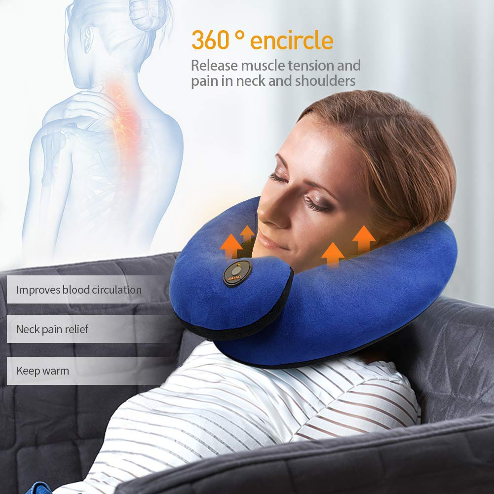 Heated Travel Neck Pillow Airplane Pillow - Supports The Head, Neck and Chin in Any Sitting Position (Blue)