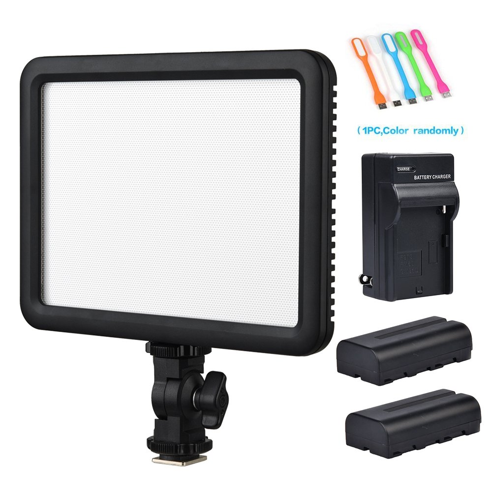 Godox LEDP120C CRI95 TLCI95 Ultra-Thin Dimmable Lightweight 3300K-5600K LED Video Light Panel On Camera Continuous Lighting Compatible for DSLR Cameras,Camcorders with 2xNP-F550 Battery&Charger by Godox