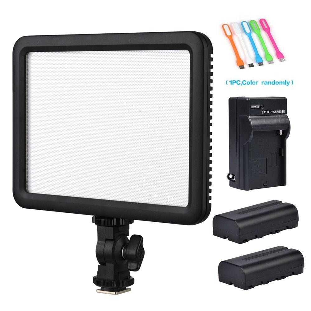 Godox LEDP120C CRI95+ TLCI95+ Ultra-Thin Lightweight 3300K-5600K LED Video Light Panel,Adjustable Color Temperature &Light Brightness Compatible DSLR Cameras,Camcorders+2xNP-F550 Battery&Charger