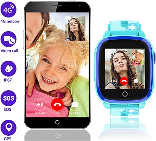 4G Kids Smart Watch for Boys Girls,GPS LBS Tracker Smartwatch,IP67 Waterproof HD Touch Screen Watch Phone with Video Call Camera Alarm SOS Sport Record for Children Teen Students Age 3-12 DF33z-Blue