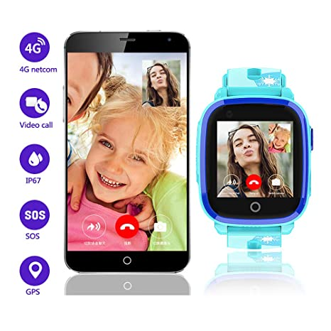 4G Kids Smart Watch for Boys Girls ,GPS LBS Tracker Smartwatch,IP67 Waterproof HD Touch Screen Watch Phone with Video Call Camera Alarm SOS Sport ...