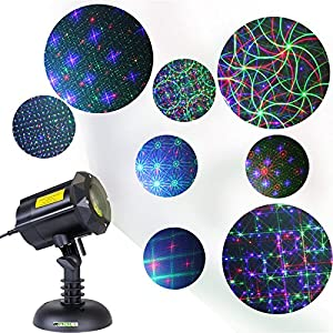 Motion 8 Patterns in 1 LEDMALL RGB Outdoor Garden Laser Christmas Lights with RF remote control and Security Lock
