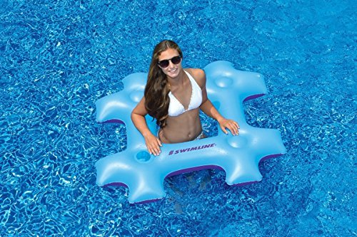 48 Blue and Purple Hash Tag Novelty Inflatable Swimming Pool Floating Raft by Swim Central