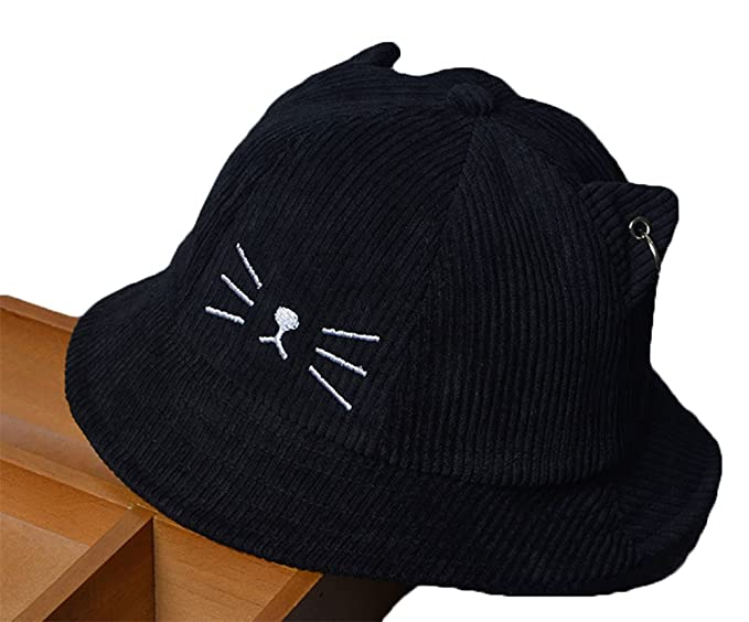 Roffatide Kids Cat Embroidery Bucket Hat Boys Girls Summer UV Protection Outdoor  Fishing Hat Black 29d47a0d51e