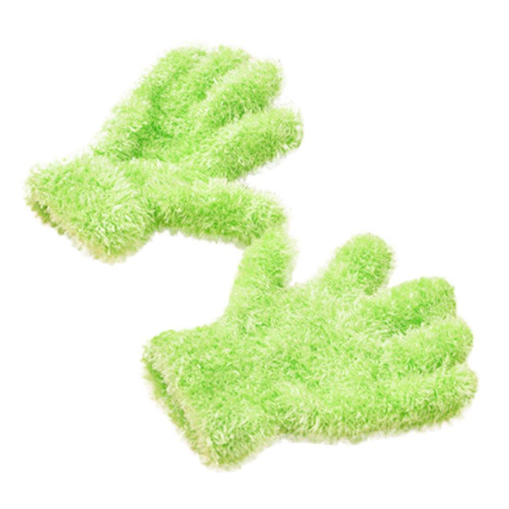 Huangou Children Warm Magic Gloves Kids Winter Knitting Cotton Gloves for Boys Girls (1-6 Years Old) (1-6 Years, Green)