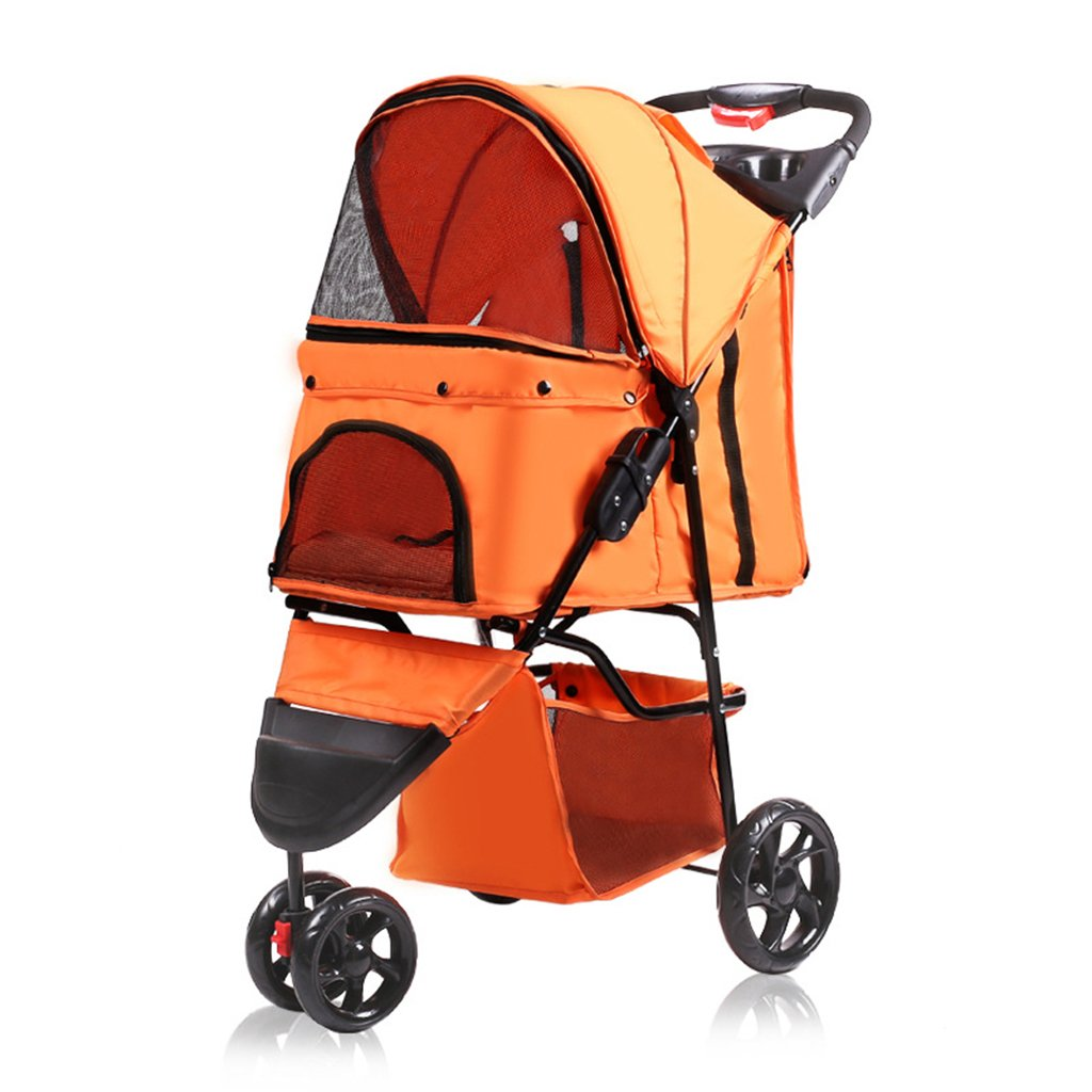 orange Pet Stroller Lightweight Folding Zipper Entry Dog&Cat Jogger Travel Carriage for Small Medium Pets. Cacoffay