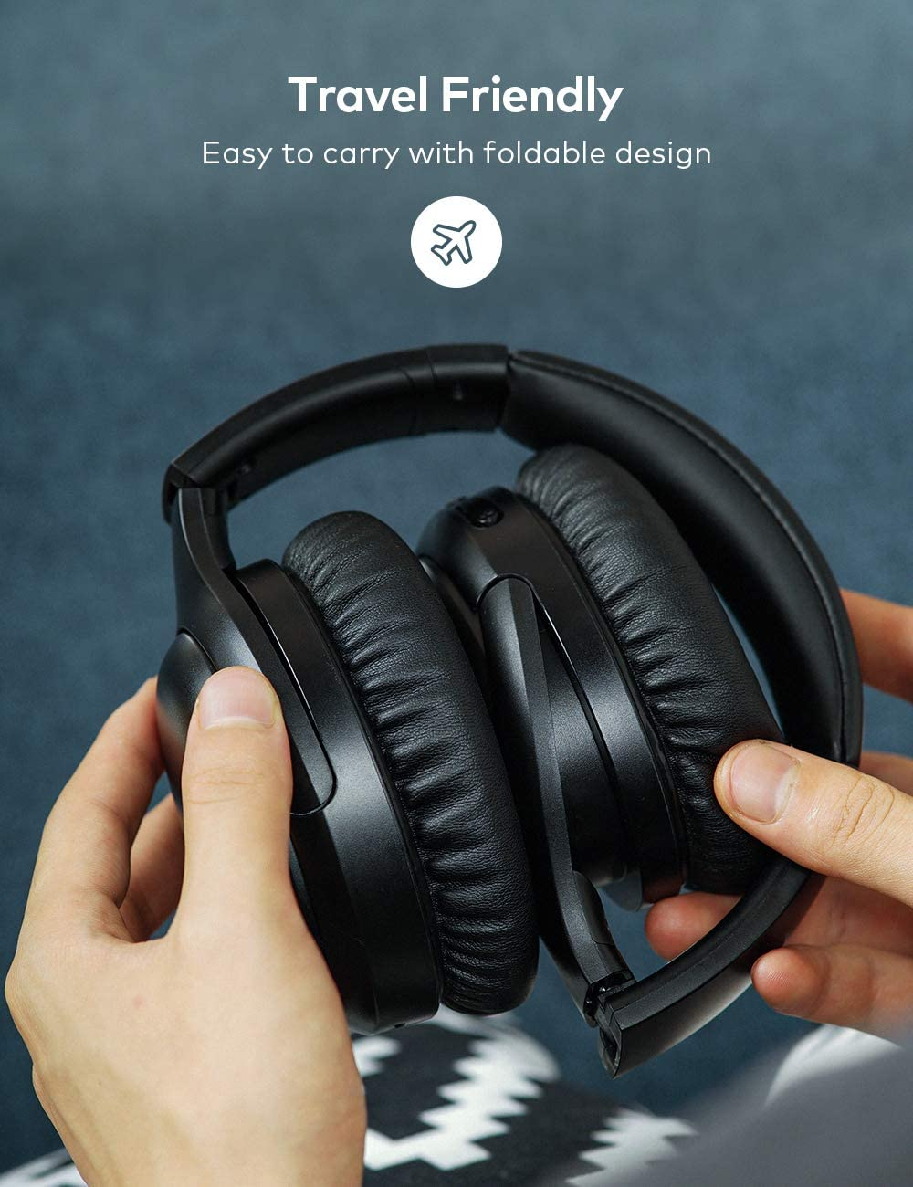 Bluetooth 5.0 Active Noise Cancelling Headphones Bluetooth Headphones Wireless Headphones BesDio Over Ear Headphones with Quick Charge Deep Bass Mic 30H Playtime for Travel Work Cellphone