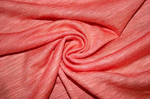 - Jersey Knit Solid Slub 2-Way Stretch 97% Rayon 3% Spandex Lycra Soft Fabric By The Yard (Peach)