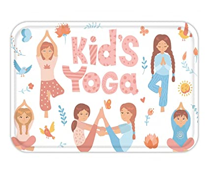 Amazon com : Beshowere Doormat cute kids doing yoga