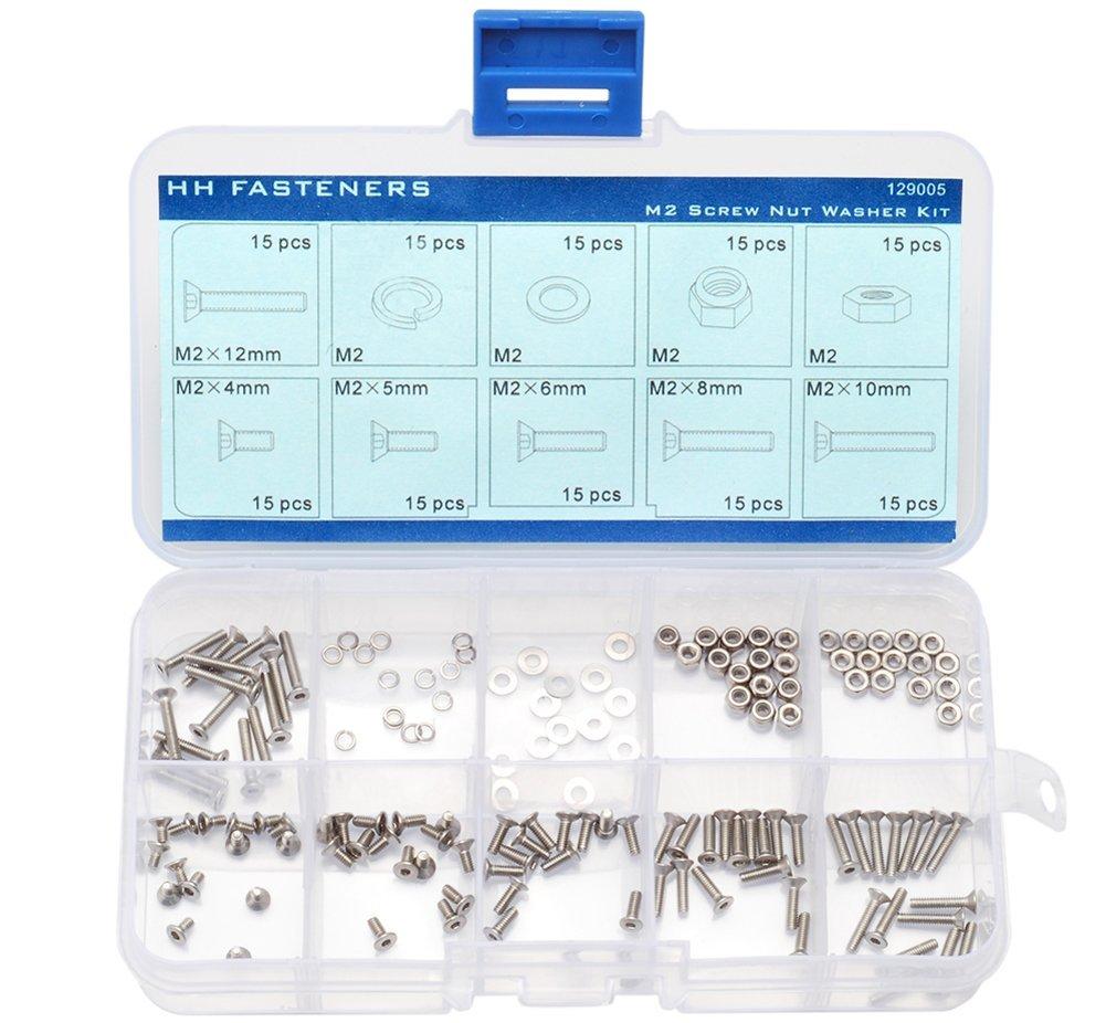 M2 Flat Head Socket Cap Screw Flat Washers Lock Washers Hex Nuts Lock Nuts Qty 150 pieces Assortment Set