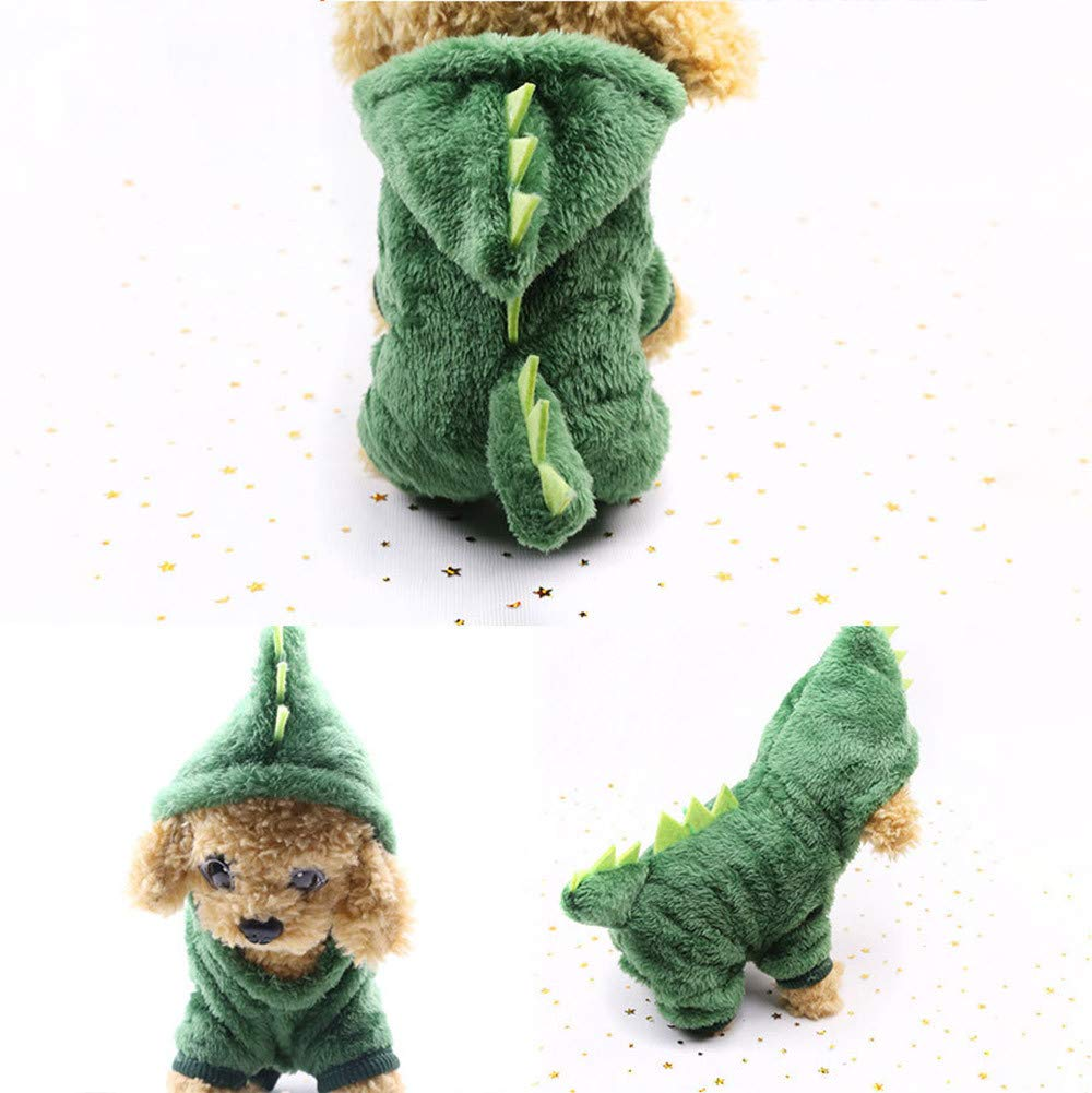Clothes For Cat Pet Small Dog Doggy Cute Dinosaur Transfiguration Coat Dress Up Dog Vest Winter Dog Apparel Dog Jacket Small Medium Dogs Pet Clothes Sweatshirt Warm Dog Outfits (Green, XXL) by succeedtop (Image #3)