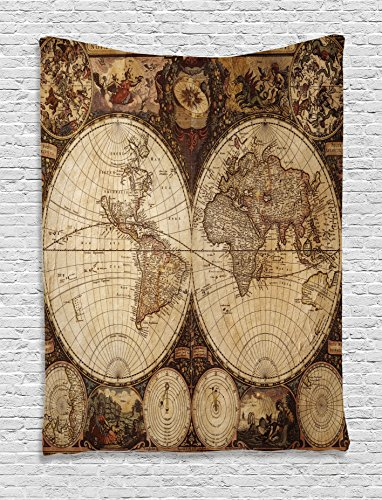 Map Tapestry Wanderlust Decor by Ambesonne, Old World Map Drawn in 1720s Nostalgic Style Art Historical Atlas Vintage Design, Bedroom Living Room Dorm Wall Hanging Tapestry, Multi