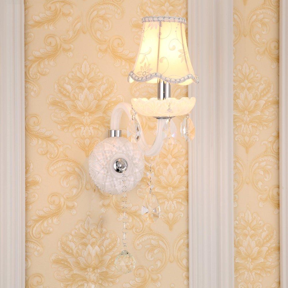Chen Lampada da parete di cristallo del pendente della stanza da letto della lampada del paralume del panno europeo (dimensioni   27  48cm)