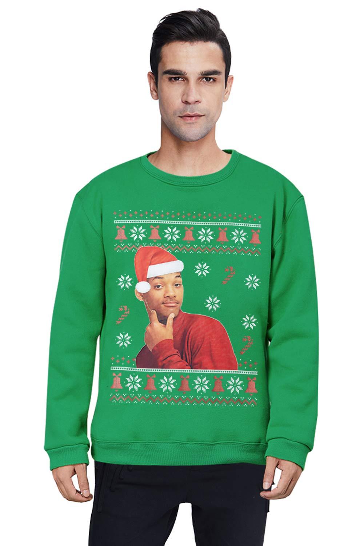 Pemela Youth 3D Print Ugly Christmas Sweatshirts Fleece Cewneck Pullover Funny Fresh Prince Long Sleeve Jumper Xmas Clothing XL
