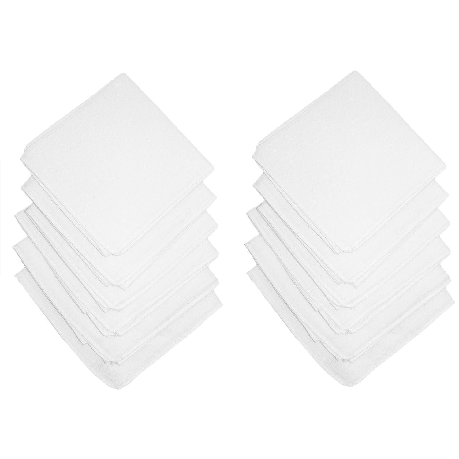 Axxents Unisex Cotton White Handkerchiefs (Pack of 12), White by Axxents (Image #1)