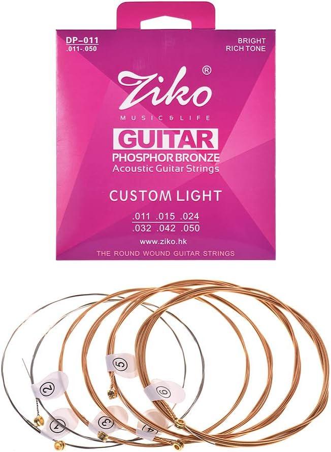 Muslady ZIKO DP-011 Cuerdas para Guitarra Acústica Alambre de Aleación Hexagonal Set de 6 Cuerdas