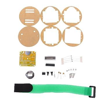 FLAMEER Reloj Digital Reloj Electrónico Kit Microcontrolador Reloj DIY Pantalla LED Roja
