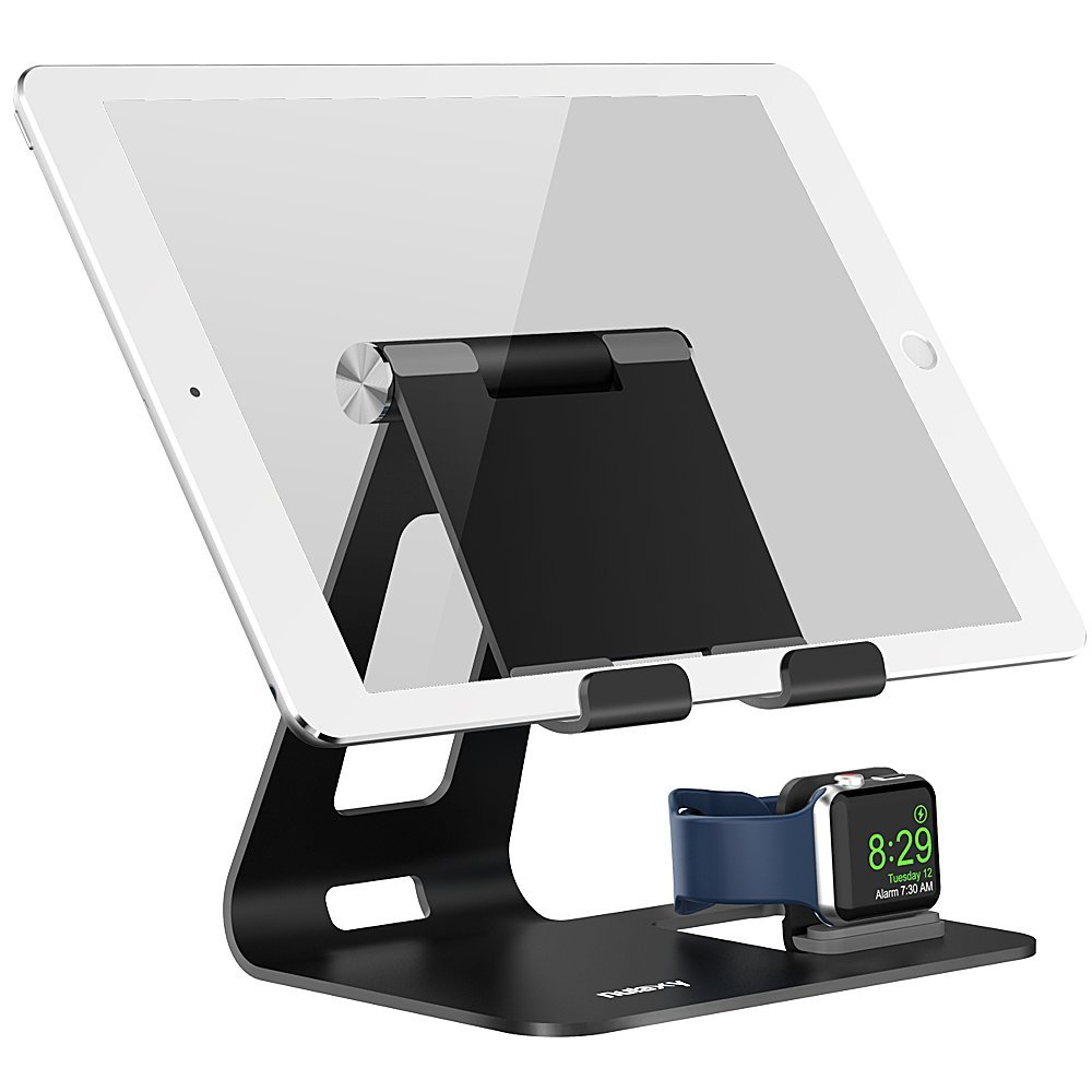 Apple Watch Stand, Nulaxy 2-1 Adjustable Tablet Stand and Apple Watch Charging Stand, Support Apple Watch Night Stand Mode for iPhone X 8 7 and Tablets (4-10 Inch), Both 38mm and 42mm, Black