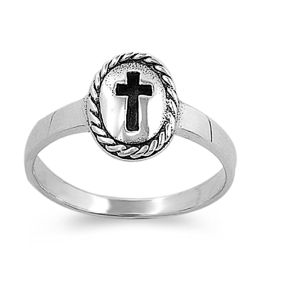 CloseoutWarehouse Messiah Cross Petite Ring Sterling Silver 925