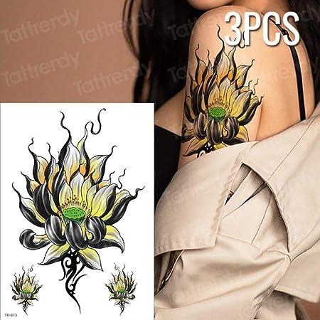 Handaxian 3pcs Tatuaje Mujer Flor Impermeable Tatuaje Flor de ...
