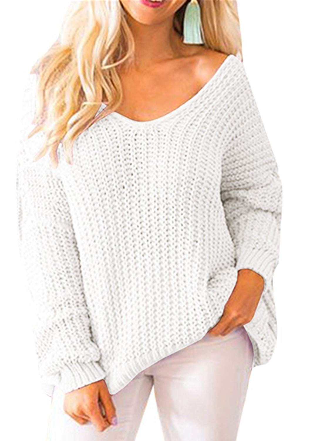 Huiyuzhi Women's Oversized Pullover Sweaters Off Shoulder V Neck Batwing Sleeve Loose Knit Chunky Sweatshirt Jumper Tops (M, White)