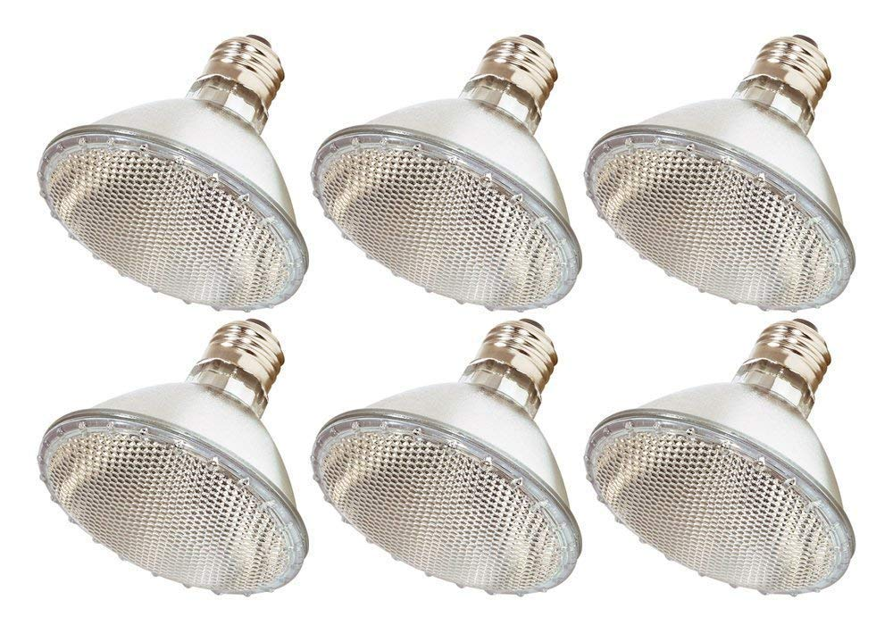 Par30 Halogen Light Bulbs, 6 Pack 60 Watt (75w Replacement), 1100 Lumens E26 Base, Long Lasting Life High Output Reflector Flood Lights for Indoor/Outdoor Use - Warm White Lighting Part Facotry