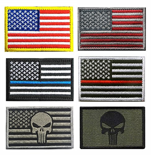 - US Flag Patches, TOWEE 6 Pack American Flag USA Flags Punisher Patches Tactical Tags Patch Military Patch Embroidered Border America Military Uniform Emblem Morale Patches