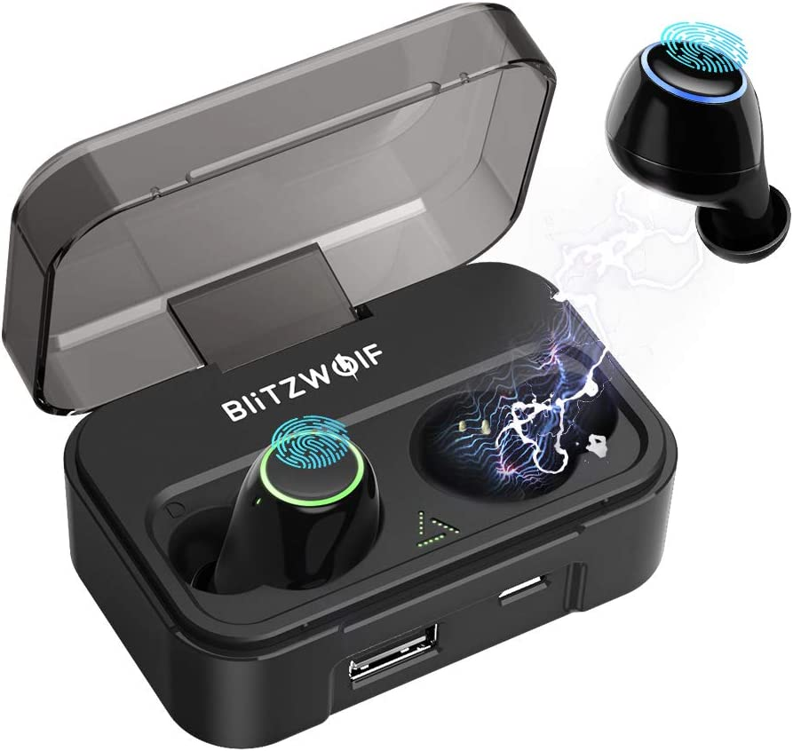 Wireless Earbuds Bluetooth Headphones, BlitzWolf TWS Bluetooth 5.0 Earbuds with 2600mAh Charging Case Auto Pairing Stereo Hi-Fi Sound Bluetooth Headset in-Ear Wireless Headphones Black