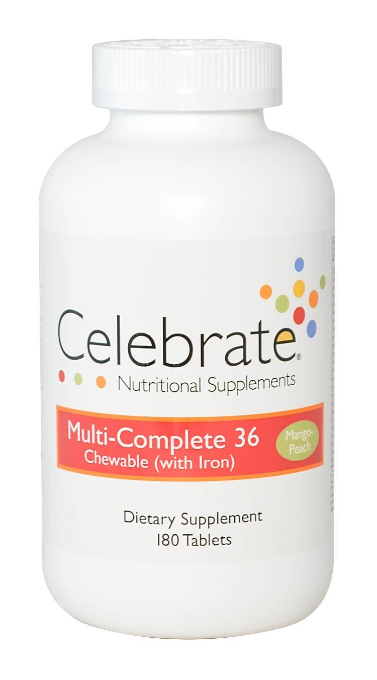 Celebrate Multi-Complete (w/iron) chewable Mango Peach 180 ct