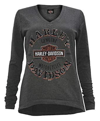 1051c3543b Amazon.com  Harley-Davidson Women s Tempted Clone Long Sleeve Hi-Low ...