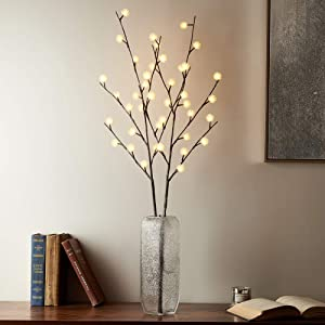 Hairui Lighted Brown Willow Twig Branch with ICY Flowers 39in 40 LED Battery Operated and Plug in for Christmas Home Decoration Indoor Outdoor Use String Lights Wire Invisible (Vase Excluded)